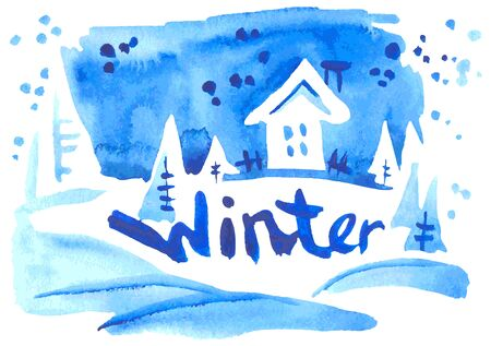 snowdrift: watercolor illustration on a white background winter landscape and an inscription Illustration