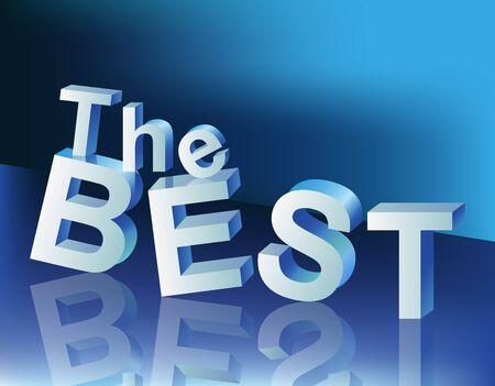 volumetric: inscripci�n volum�trica: la mejor con la reflexi�n sobre fondo azul Vectores