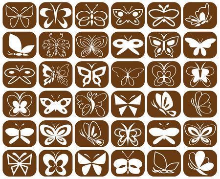 fondo cafe: ilustraci�n de las diferentes formas de iconos de mariposa sobre fondo marr�n
