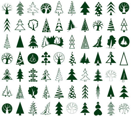deciduous: green icons conifers and deciduous trees on white background stylized Illustration