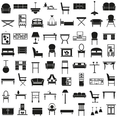 chair: black icons on the theme of the furniture on a white background Illustration