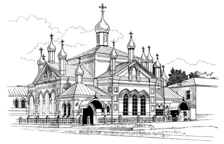orthodoxy: ink drawing on white paper: Holy Olginsky convent in Insar Russia Illustration