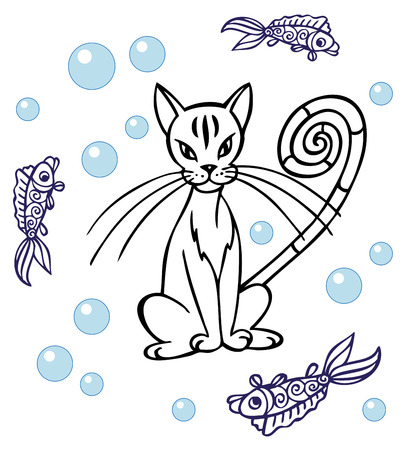 sit around: illustration of a cat sitting around swimming fish and bubbles. Illustration