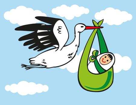 illustratie van witte ooievaar draagt een baby op de blauwe hemel met wolken. Stock Illustratie
