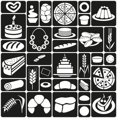 gateau: icone bianche su sfondo nero sul tema di dolci da forno