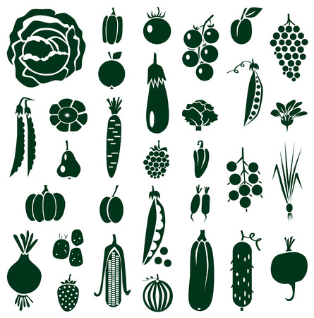bunch of grapes: green icons on white background with vegetables, fruits and berries.