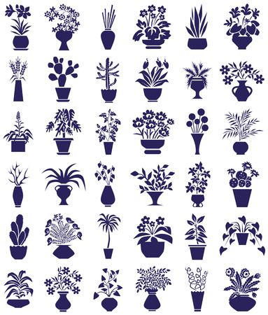 houseplants: icons on white background theme houseplants and flowers