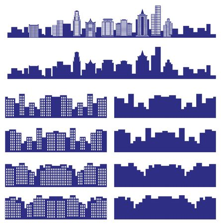 locality: Picture of a blue silhouette of towns and cities on a white background. Illustration