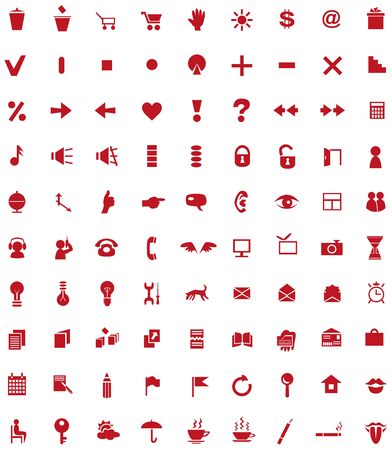 universal icons: red universal icons for sites on a white background