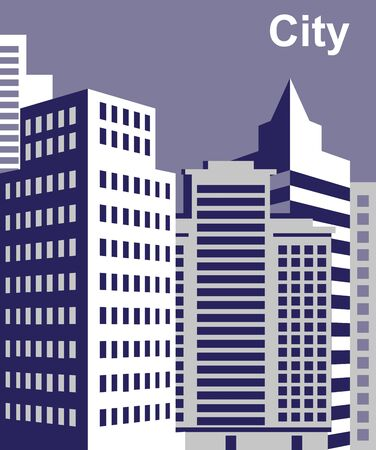 metropolis: image of the metropolis with high-rise buildings in in  city Illustration