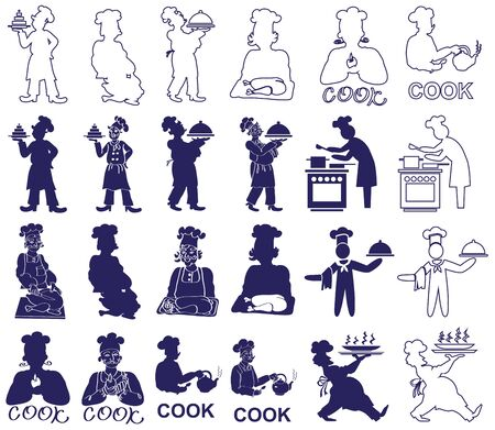 food dish: illustration silhouettes and contours cook prepares food on a white background