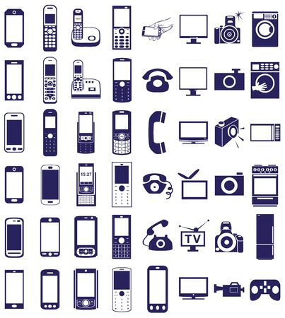 household appliances: blue  icons in white background on electronics and household appliances, telephones.