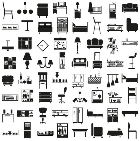 sideboard: Black icons on white background on the topic of furniture, decor