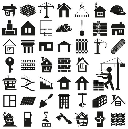 blockhouse: black icons on  white background - construction, building and home. Illustration