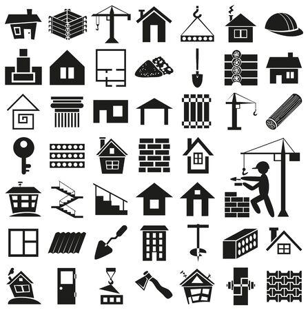 piedra laja: iconos negros sobre fondo blanco - la construcci�n, la construcci�n y el hogar. Vectores