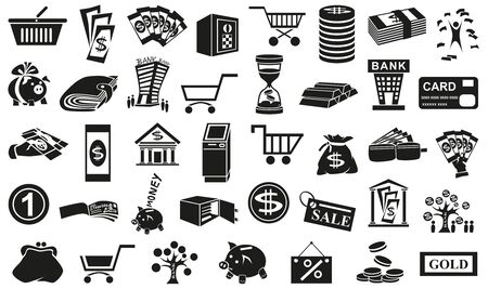 Preview black icons in  white background with  subject of money. Vector