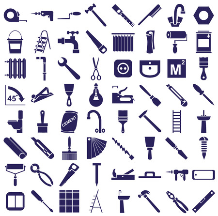 sanitary engineering: blue  icons in white background on repairs and tools.