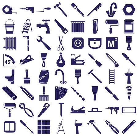 overhaul: Icone blu sullo sfondo bianco per le riparazioni e gli strumenti. Vettoriali