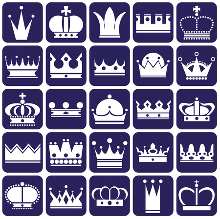 tsar: white icons on blue background on royal crown