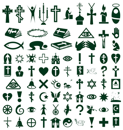 orison: Image of  icons on white background on the topic Religion Illustration