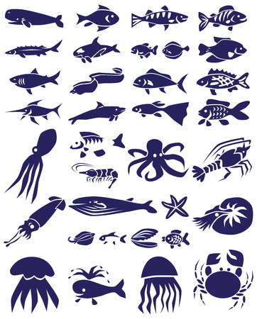 crucian: blue icons on white background topic of marine animals