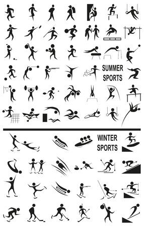 흰색 배경에 겨울과 여름 activitie 스포츠와 검은 아이콘의 이미지입니다.