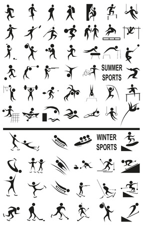 Image of black icons with winter and summer activitie sport on  white background.