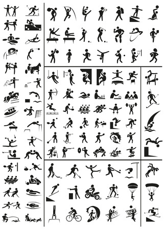 tug: various sports black people icons on a white background