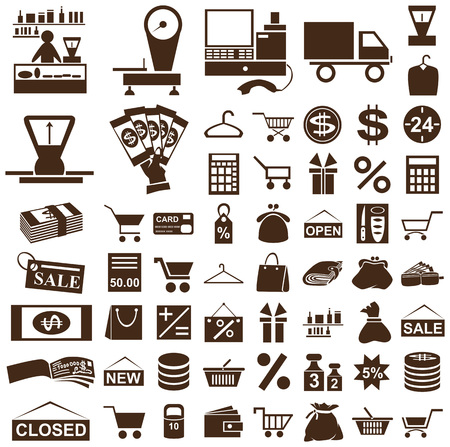 cut short: brown icons on white background theme shop and seller Illustration