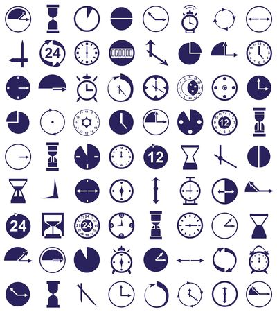 periods: blue icons on a white background on the clock, time Illustration
