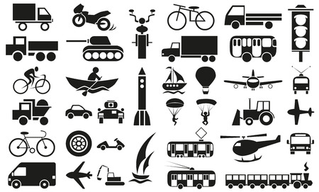 modes: Image icons with different modes of transport - air, land and water on white background.