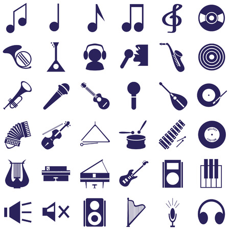 Image icons with music intstrument, notes, musicians schematic on white background. Vector