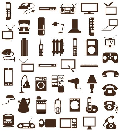 Preview brown icons on a white background with  topic Appliances. Vector