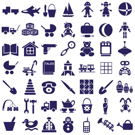 tessera: blue icons on a white background on childrens toys.