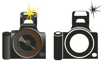 camera with flash: Black camera flash on a white background and contour Illustration