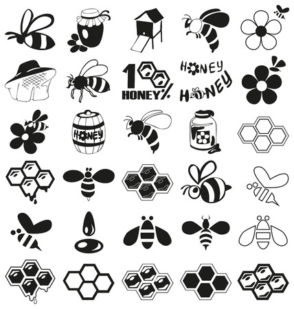 preview: Preview icon black bees, honey, beekeeping attributes on a white background.
