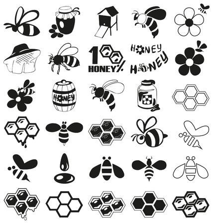 abejas panal: Vista previa de icono abejas negras, miel, apicultura atributos sobre un fondo blanco.