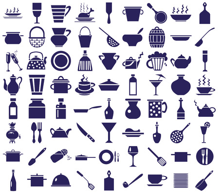dinnerware: blue icons on a white background on the topic of dishes