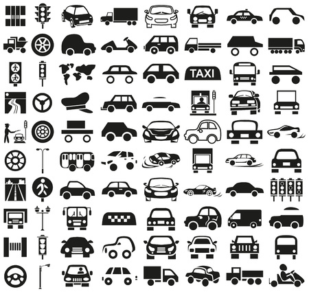 drifting: Black icons on white background on the topic of car and driver