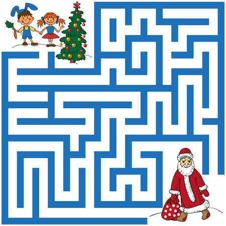 maze with Santa Claus, who carries a bag with gifts under the Christmas tree for children.