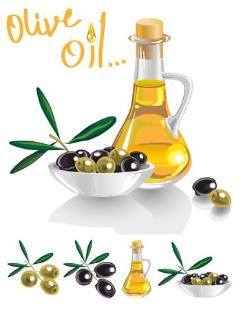 illustration of bottle with oil, black and green olives in a bowl on a white background. Illustration