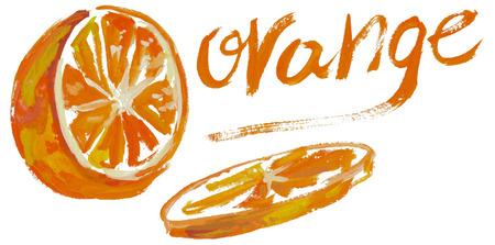 sliced: Ilustraci�n de la acuarela en un fondo blanco rodajas de naranja y la inscripci�n