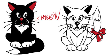 meow: illustration of black and white cats sitting on white background and meow.
