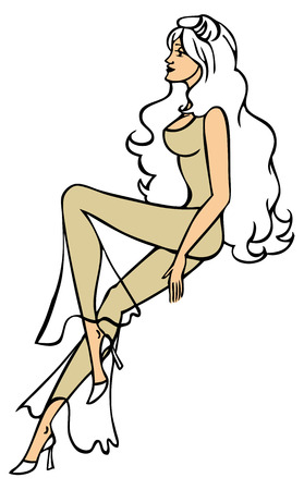 naked woman  white background: illustration of a beautiful long-legged girl sitting sideways on a white background Illustration