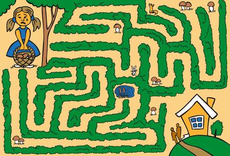 미로 : 숲속에 버섯 바구니가있는 소녀가 집에가는 길을 잃어 버렸습니다. 일러스트