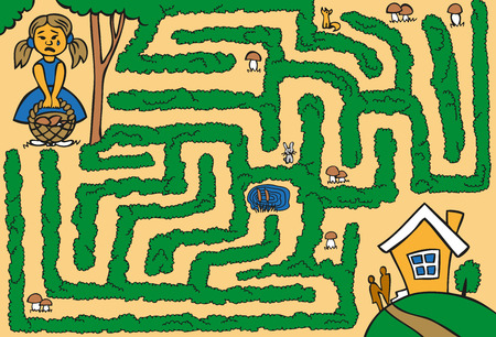 Maze: Girl with a basket of mushrooms in the forest and got lost looking for a way home Illustration