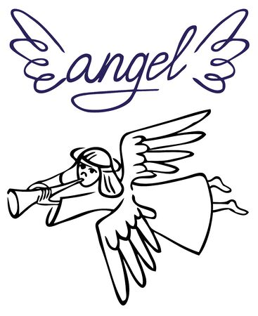 angel white: illustration of an angel with a pipe Lehtinen on a white background. sign and wings