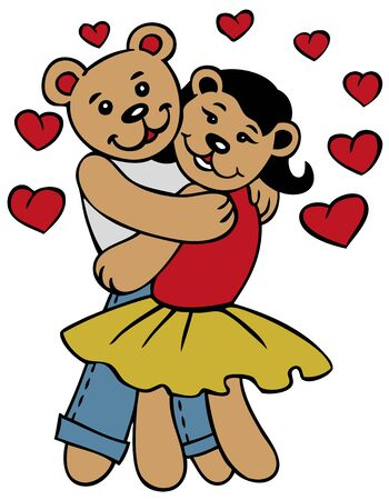 mended: illustration of two lovers dancing bear hugging clothes, around the heart Illustration