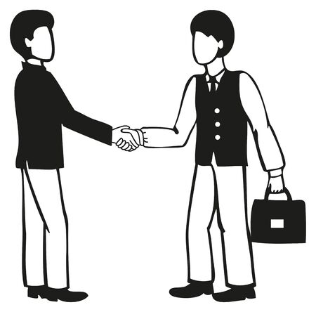compromise: illustration of two businessmen shake hands on a white background