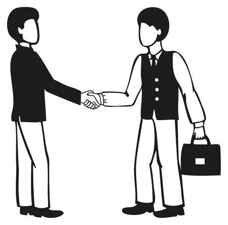 compromise: ilustraci�n de dos hombres de negocios se dan la mano sobre un fondo blanco Vectores